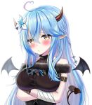 1girl absurdres arm_strap arms_under_breasts bangs blue_hair blush crossed_arms demon_girl demon_horns demon_tail demon_wings elf eyebrows_visible_through_hair hair_behind_ear highres hololive horns long_hair looking_to_the_side pointy_ears portrait solo tail tsukito_5555 virtual_youtuber white_background wings yellow_eyes yukihana_lamy