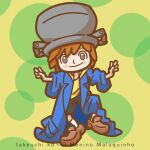 1boy blue_coat blush_stickers brazil brown_footwear brown_hair character_name child closed_mouth coat copyright_name full_body looking_at_viewer male_focus maluquinho o_menino_maluquinho oversized_clothes pot pot_on_head shirt shoes shorts smile socks solo takeuchi_kou yellow_shirt