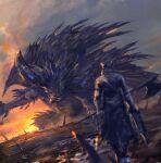 angry armor black_dress bloodborne crossover dark_skin dress full_body highres hunter_(bloodborne) hunting monster monster_hunter:_world monster_hunter_(series) nergigante shimhaq sky souls_(series) weapon
