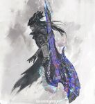 1boy beard bloodborne closed_mouth crossover facial_hair from_side guitar hat highres hunter_(bloodborne) instrument long_hair male_focus monochrome monster_hunter_(series) profile purple_theme shimhaq solo standing weapon weapon_on_back