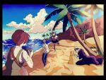 2boys 2girls asymmetrical_legwear bangs beach black_border black_coat black_hair blue_hair blunt_bangs border cham-p clouds coat collared_shirt commentary_request dangan_ronpa_(series) dangan_ronpa_2:_goodbye_despair day dress from_behind green_dress grey_hair hair_horns hamster heterochromia highres hinata_hajime jum-p kiri_(2htkz) koizumi_mahiru long_hair maga-g mioda_ibuki mismatched_legwear multicolored_hair multiple_boys multiple_girls outdoors palm_tree piercing pinafore_dress pink_eyes pink_hair pink_scarf redhead sand_castle sand_sculpture scarf school_uniform serafuku shirt short_hair skirt sun-d tanaka_gandamu thigh-highs torn_clothes torn_legwear tree white_hair white_shirt