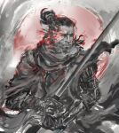 1boy absurdres beard closed_mouth facial_hair hair_bun highres holding holding_sword holding_weapon katana looking_at_viewer male_focus monochrome prosthesis prosthetic_arm red_theme scarf sekiro sekiro:_shadows_die_twice shimhaq solo sword weapon