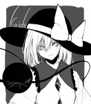 1girl absurdres bangs black_headwear blouse bow character_name closed_mouth collar crystal eyebrows_visible_through_hair frills grey_background grey_collar hair_between_eyes hat hat_bow highres hisha_(kan_moko) komeiji_koishi long_sleeves looking_at_viewer monochrome one-hour_drawing_challenge short_hair simple_background solo third_eye touhou white_background white_blouse white_bow white_eyes white_hair white_sleeves