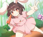 2girls animal_ears arms_up bamboo bamboo_forest bangs black_jacket black_sleeves boots brown_footwear brown_hair bush caramell0501 carrot carrot_necklace closed_mouth dress eyebrows_visible_through_hair food forest ground hair_between_eyes hands_up highres inaba_tewi jacket leg_up long_hair long_sleeves looking_at_another looking_at_viewer multiple_girls nature necktie open_mouth orange_eyes pink_dress pink_hair pink_skirt pink_sleeves puffy_short_sleeves puffy_sleeves rabbit_ears rabbit_tail red_neckwear reisen_udongein_inaba running shirt shoes short_hair short_sleeves skirt smile socks tail teeth touhou tree v vegetable white_eyes white_footwear white_legwear white_shirt
