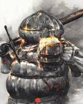 1boy alcohol armor beer beer_mug commentary cup dark_souls_iii english_commentary full_armor helmet highres holding holding_sword holding_weapon male_focus mug over_shoulder shimhaq siegward_of_catarina signature solo souls_(series) sword weapon weapon_over_shoulder