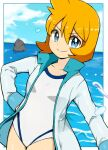 1girl bangs beach blue_eyes border breasts closed_mouth clouds cloudy_sky coat commentary_request competition_swimsuit cu-sith eyebrows_visible_through_hair gym_leader hand_on_hip jacket long_sleeves looking_at_viewer misty_(pokemon) multicolored multicolored_clothes multicolored_swimsuit ocean one-piece_swimsuit open_clothes open_jacket orange_hair pokemon pokemon_(game) pokemon_hgss rock short_hair sky smile solo splashing swimsuit track_jacket v-shaped_eyes water water_drop white_border