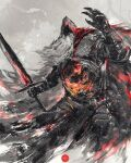 1boy armor beard cape commentary dark_souls_iii english_commentary facial_hair full_armor gauntlets hand_up highres holding holding_sword holding_weapon hood hood_up long_beard mail_armor male_focus shimhaq slave_knight_gael solo souls_(series) sword weapon