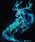 antlers blue_theme character_request commentary dated deer elden_ring english_commentary highres monochrome no_humans rearing shimhaq signature