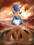 1girl absurdres alternate_color alternate_eye_color ancesra artist_name bangs blue_skin blurry blurry_background bob_cut breasts closed_mouth colored_skin floating floating_object forest gardevoir gen_3_pokemon glowing hair_over_one_eye hands_up happy highres jewelry light_rays multicolored multicolored_skin nature necklace outdoors partially_submerged patreon_username pokemon pokemon_(creature) red_eyes ripples shiny_pokemon short_hair small_breasts smile solo standing straight-on stream sunlight sunset tree two-tone_skin wading water watermark web_address white_skin