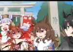 4girls amazake_(drink) animal_ears bangs beer_hsk black_hair blunt_bangs blurry blurry_background bow closed_eyes ear_ornament eyebrows_visible_through_hair floral_print fur_trim gold_ship_(umamusume) green_eyes hatsumoude horse_ears horse_girl japanese_clothes kimono kin'iro_ryotei_(umamusume) long_hair multiple_girls nakayama_festa_(umamusume) new_year orfevre_(umamusume) pillarboxed pillbox_hat red_bow red_headwear red_kimono silver_hair torii umamusume violet_eyes wavy_hair