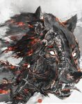 1boy abyss_watcher animal armor commentary cowboy_shot english_commentary full_armor gauntlets helmet highres holding holding_sword holding_weapon male_focus oversized_animal shimhaq solo souls_(series) standing sword weapon wolf