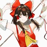1girl arms_up bangs bare_shoulders blush bow brown_eyes brown_hair closed_mouth collar detached_sleeves eyebrows_visible_through_hair gohei hair_between_eyes hair_tubes hakurei_reimu hands_up ikasoba long_sleeves red_bow red_vest short_hair simple_background smile solo touhou upper_body vest white_background white_collar white_sleeves yellow_neckwear