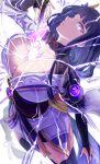 1girl braid braided_ponytail breasts drawing_sword electricity flower genshin_impact hair_ornament highres holding holding_sword holding_weapon japanese_clothes kimono large_breasts long_hair mitsudomoe_(shape) mole mole_under_eye purple_flower purple_hair raiden_(genshin_impact) sash sheath solo sword sword_between_breasts tomoe_(symbol) uenoryoma unsheathing violet_eyes vision_(genshin_impact) weapon