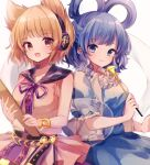 2girls :d bangs bare_shoulders belt blouse blue_dress blue_eyes blue_hair blunt_bangs blurry bracelet breasts brown_eyes closed_mouth collarbone cowboy_shot depth_of_field dress earmuffs eyebrows_visible_through_hair glint hagoromo hair_flaps hair_ornament hair_rings hair_stick highres holding holding_stick jewelry kaku_seiga light_blush light_brown_hair looking_at_viewer medium_breasts moshihimechan multiple_girls open_clothes open_mouth open_vest pink_blouse pointy_hair puffy_short_sleeves puffy_sleeves purple_neckwear purple_ribbon ribbon ritual_baton shawl short_sleeves simple_background sleeveless_blouse smile stick touhou toyosatomimi_no_miko vest white_background white_vest