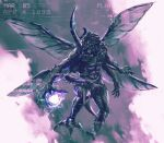 absurdres digimon digimon_(creature) energy_ball flying full_body highres kabuterimon monochrome monster no_humans open_mouth purple_theme shimhaq spread_wings