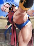 1girl armor bangs black_legwear blue_panties blue_sky blurry blurry_background breasts bun_cover china_dress chinese_clothes closed_mouth clouds cloudy_sky colosseum commentary cowboy_shot day dragon_quest dragon_quest_dai_no_daibouken dress dust english_commentary hair_bun highres kicking large_breasts lips looking_at_viewer maam motion_blur muscular muscular_female outdoors panties parted_bangs pelvic_curtain pink_hair red_dress red_eyes short_hair short_sleeves shoulder_armor sky solo standing standing_on_one_leg thick_thighs thigh-highs thighs underwear v-shaped_eyebrows yoshio_(55level)