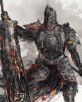 1boy armor breastplate commentary covered_face dark_souls_ii english_commentary faulds full_armor fume_knight helmet highres holding holding_sword holding_weapon male_focus pauldrons shimhaq shoulder_armor solo souls_(series) standing sword waist_cape weapon