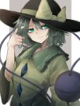 1girl absurdres bangs black_headwear blouse bow closed_mouth collar crystal eyes_visible_through_hair green_collar green_eyes green_hair grey_background hair_between_eyes hand_up hat hat_bow highres hisha_(kan_moko) komeiji_koishi long_sleeves looking_to_the_side looking_up short_hair simple_background smile solo third_eye touhou white_background wide_sleeves yellow_blouse yellow_bow yellow_sleeves