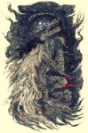 bloodborne cape commentary dated english_commentary from_side hands_up highres monster no_humans open_mouth shimhaq signature solo vicar_amelia werewolf