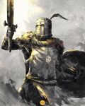 1boy armor cowboy_shot dark_souls_i full_armor gauntlets hat_feather helmet highres holding holding_shield holding_sword holding_weapon mail_armor shield shimhaq solaire_of_astora solo souls_(series) standing sword tabard weapon
