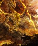 1other commentary dated dragon elden_ring english_commentary highres lightning riding shimhaq signature spread_wings tarnished_(elden_ring) wings yellow_theme