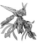 absurdres arm_blade greyscale gun highres holding holding_gun holding_weapon ishiyumi looking_to_the_side majestic_prince mecha monochrome no_humans red_five science_fiction solo weapon white_background