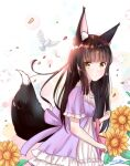 1girl alternate_costume animal_ears azur_lane bag bangs bird black_hair blunt_bangs casual collarbone commentary_request contemporary dove eyebrows_visible_through_hair eyes_visible_through_hair flower fox_ears fox_girl fox_tail from_side handbag long_hair looking_at_viewer looking_to_the_side m_ko_(maxft2) nagato_(azur_lane) parted_lips petals short_sleeves sidelocks sunflower tail yellow_eyes