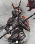 1other armor black_knight_(dark_souls) breastplate commentary cowboy_shot dark_souls_i english_commentary full_armor gauntlets grey_background helmet highres holding holding_polearm holding_weapon horned_helmet looking_at_viewer pauldrons polearm shimhaq shoulder_armor signature solo souls_(series) weapon