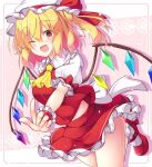 1girl aka_tawashi arm_up bangs blonde_hair blush bow breasts collar crystal eyebrows_visible_through_hair eyes_visible_through_hair flandre_scarlet floral_background flower frills hair_between_eyes hand_up hat hat_bow highres holding jumping looking_at_viewer medium_breasts mob_cap multicolored multicolored_wings one_eye_closed open_mouth panties pink_background pink_flower ponytail puffy_short_sleeves puffy_sleeves red_bow red_eyes red_footwear red_skirt red_vest shoes short_hair short_sleeves skirt smile socks solo touhou underwear vest white_background white_bow white_collar white_flower white_headwear white_legwear white_panties white_sleeves wings wrist_cuffs yellow_neckwear