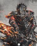 1boy armor clenched_teeth covered_eyes full_armor gauntlets helmet highres holding holding_sword holding_weapon long_hair lorian_(elder_prince) male_focus pauldrons shimhaq shoulder_armor signature solo souls_(series) sword teeth two-handed weapon