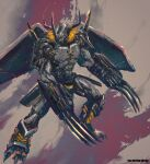 1other blackwargreymon claws digimon digimon_(creature) fighting_stance highres horns legs_apart shimhaq solo standing wings yellow_theme