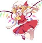 1girl arm_up bangs blonde_hair caramell0501 collar crystal eyebrows_visible_through_hair flandre_scarlet flying hair_between_eyes hand_up hat hat_ribbon highres looking_at_viewer mob_cap multicolored multicolored_wings one-hour_drawing_challenge open_mouth ponytail puffy_short_sleeves puffy_sleeves red_eyes red_footwear red_ribbon red_skirt red_vest ribbon shaded_face shirt shoes short_hair short_sleeves simple_background skirt smile socks solo touhou vest white_background white_collar white_headwear white_legwear white_shirt white_sleeves wings yellow_neckwear