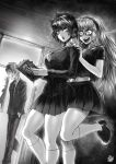 1boy 2girls =3 artist_name blood blood_from_mouth book braces breasts doorway flying_sweatdrops fubuki_(one-punch_man) glasses greyscale hairband hands_in_pockets highres kneehighs large_breasts long_hair midriff monochrome multiple_girls navel necktie one-punch_man psychos saitama_(one-punch_man) school_uniform serafuku signature smile sparkle standing standing_on_one_leg teenage the_golden_smurf younger