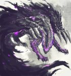 commentary english_commentary gore_magala monochrome monster monster_hunter_(series) no_humans purple_theme shimhaq