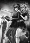 1boy 2girls =3 artist_name blood blood_from_mouth book braces breasts character_name doorway flying_sweatdrops fubuki_(one-punch_man) glasses greyscale hairband hands_in_pockets highres kneehighs large_breasts long_hair midriff monochrome multiple_girls navel necktie one-punch_man pantyhose psychos saitama_(one-punch_man) school_uniform serafuku signature sparkle standing standing_on_one_leg teenage the_golden_smurf younger