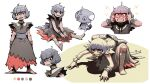 1girl ahoge bangs barefoot black_ribbon blunt_bangs bow clenched_teeth color_guide commentary creature_and_personification dress espurr gen_6_pokemon grey_hair hands_up highres knees leg_wrap messy_hair neck_ribbon personification pokemon pokemon_(creature) rayluaza ribbon sash sharp_teeth short_hair short_sleeves sitting smile soles standing teeth toes white_background wrist_cuffs