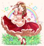 1girl artist_name beamed_eighth_notes brown_eyes brown_hair dress eighth_note grass hand_puppet hat_ornament high_heels idolmaster idolmaster_cinderella_girls idolmaster_cinderella_girls_starlight_stage kurumi_rumi looking_at_viewer mochida_arisa musical_note one_eye_closed puffy_short_sleeves puffy_sleeves puppet rainbow red_dress red_footwear short_sleeves skirt_hold solo sparkle standing star_(symbol)
