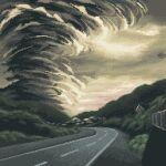 clouds cloudy_sky daisen_(specialdaisen) forest highres nature no_humans original outdoors pixel_art road scenery sky tornado