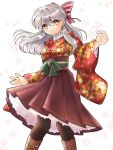 1girl alternate_costume black_legwear boots bow cherry_blossoms fire_emblem fire_emblem:_radiant_dawn flower frilled_skirt frills gau_fe hair_bow japanese_clothes kimono long_hair long_skirt long_sleeves micaiah_(fire_emblem) pantyhose petals silver_hair skirt smile solo white_background wide_sleeves yellow_eyes