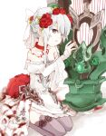 1girl armor armored_dress blood bloody_clothes bow choker dress flower grey_eyes grey_legwear hair_bow hair_bun harp instrument ishikoro1645 kneeling looking_at_viewer off_shoulder parted_lips red_flower red_rose rose sidelocks sinoalice snow_white_(sinoalice) solo thigh-highs white_dress zettai_ryouiki