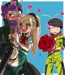 1girl 2boys :d ahoge bangs black_bow black_coat black_hair black_headwear black_legwear blue_background blue_eyes blush border bouquet bow bracelet braid carrying coat danganronpa_(series) danganronpa_2:_goodbye_despair dress fang feet_out_of_frame flower green_dress grey_hair hair_bow hamster happy hat heart heterochromia holding holding_another holding_bouquet jewelry long_hair multicolored_hair multiple_boys open_mouth pink_bow pink_hair pleated_dress ponytail princess_carry puffy_short_sleeves puffy_sleeves red_bow rose short_hair short_sleeves side_braid smile sonia_nevermind souda_kazuichi sun-d suurin_(ksyaro) tanaka_gandamu thigh-highs white_border yellow_jumpsuit