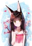 1girl animal_ears azur_lane bangs black_hair blunt_bangs cherry_blossoms collarbone commentary_request eyebrows_visible_through_hair eyes_visible_through_hair fox_ears head_tilt jewelry long_hair looking_at_viewer m_ko_(maxft2) nagato_(azur_lane) nagato_(great_fox's_sleepwear)_(azur_lane) necklace parted_lips paw_pose paw_print see-through sidelocks solo spaghetti_strap yellow_eyes