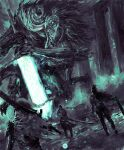 3others armor bloodborne blue_theme commentary english_commentary highres holding holding_sword holding_weapon ludwig_the_accursed monster multiple_others planted planted_sword shimhaq standing sword weapon