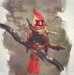 animalization bird branch cardinal_(bird) highres katana looking_at_viewer no_humans red_theme scarf sekiro sekiro:_shadows_die_twice shimhaq solo sword weapon