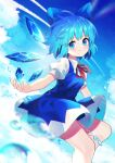 1girl absurdres bangs blue_bow blue_dress blue_eyes blue_hair blue_sky bow cirno closed_mouth clouds collared_shirt dress eyebrows_visible_through_hair hair_bow highres ice ice_wings looking_at_viewer neck_ribbon outdoors pinafore_dress puffy_short_sleeves puffy_sleeves red_neckwear red_ribbon ribbon shirt short_hair short_sleeves sky smile solo touhou water white_shirt wings yuujin_(yuzinn333)