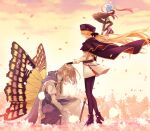 1boy 1girl absurdres artoria_pendragon_(all) artoria_pendragon_(caster)_(fate) black_gloves blonde_hair blue_headwear boots butterfly_wings cape cloak coat crown evening fate/grand_order fate_(series) flower from_side full_body fur-trimmed_cape fur_trim gloves hand_on_another's_head hat highres holding holding_staff kneeling long_hair morita_yuu oberon_(fate) one_knee pantyhose petals robe silver_hair skirt staff two-sided_fabric wind wind_lift wings