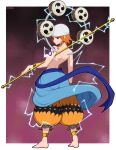 1girl afrobull anklet backboob bandana bangs bare_arms barefoot belt blue_belt border bracelet breasts cosplay earrings electricity enel enel_(cosplay) from_behind full_body highres holding jewelry looking_at_viewer looking_back medium_breasts mitsudomoe_(shape) nami_(one_piece) one_piece outside_border pants red_background short_hair shoulder_tattoo smile solo tattoo tomoe_(symbol) topless white_border