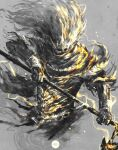 1boy armor commentary dark_souls_iii english_commentary grey_background highres holding holding_polearm holding_weapon nameless_king polearm shimhaq simple_background solo souls_(series) weapon