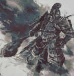 1boy armor breastplate facing_viewer faulds full_armor gauntlets havel_the_rock helmet highres holding holding_weapon male_focus pauldrons plume shimhaq shoulder_armor solo souls_(series) standing weapon
