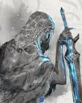 1boy closed_mouth commentary english_commentary fingernails hand_up highres holding holding_sword holding_weapon hood hood_up long_fingernails lothric_(younger_prince) male_focus robe sharp_fingernails shimhaq signature solo souls_(series) sword veil weapon